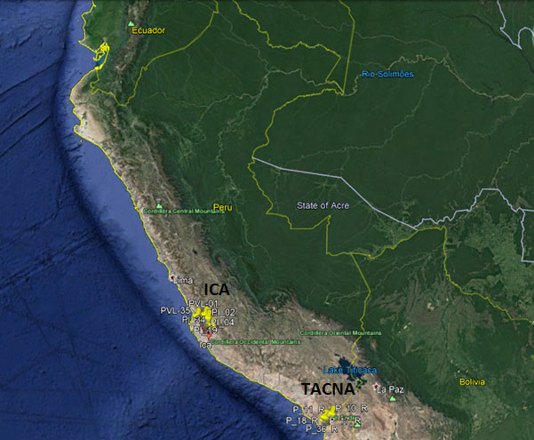 Ica and Tacna monitoring points